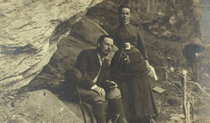 Edward and Marian MacDowell on a walking tour in Switzerland, 1886.
