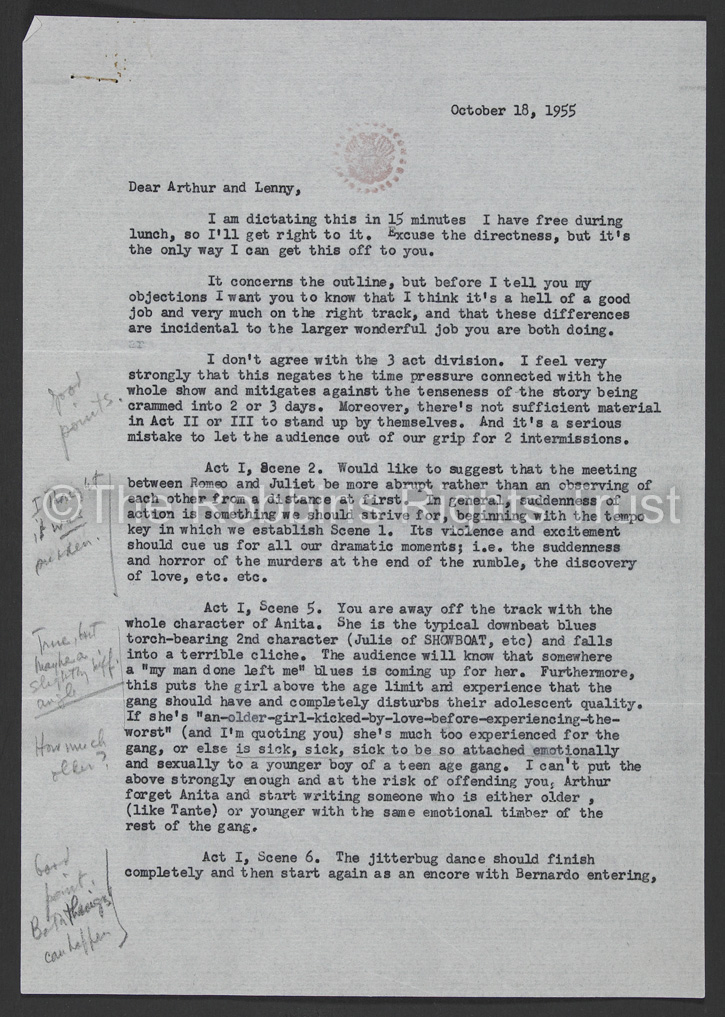 Letter from Jerome Robbins
