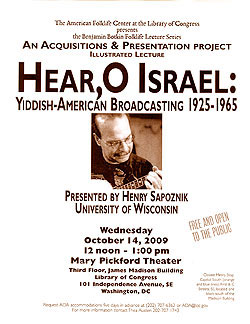 2009 Botkin Lecture Flyer for Henry Sapoznik