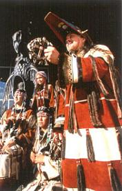 Aleut dancers in ceremonial dress.