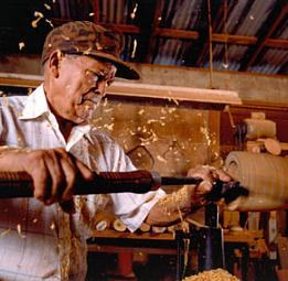Francisco Rosario in his wood-turning shop in Manati