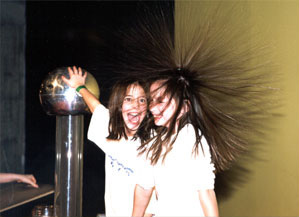 Image: two girls electrified