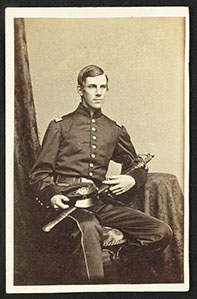 Major Oliver Wendell Holmes, Jr., of Co. A and Co. G, 20th Massachusetts Infantry Regiment in uniform with sword
