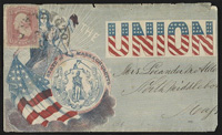 [Civil War envelope showing Columbia with flag, Massachusetts state seal, and Phrygian cap bearing message 'Loyal to the Union']