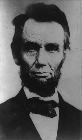 President Abraham Lincoln, head-and-shoulders portrait, facing front