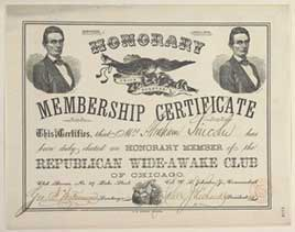 Chicago Wide-Awake Republican Club to Abraham Lincoln, Friday, June 01, 1860 (Certificate of membership)