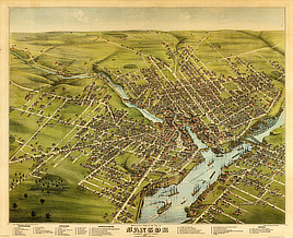 Bird's eye view of the City of Bangor, Penobscot County, Maine, 1875