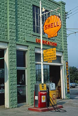 Shell Gasoline sign, angle view, Delaware Street