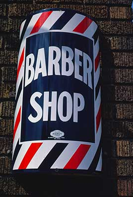 Barber sign (manufactured by the Marvy Company), University Avenue