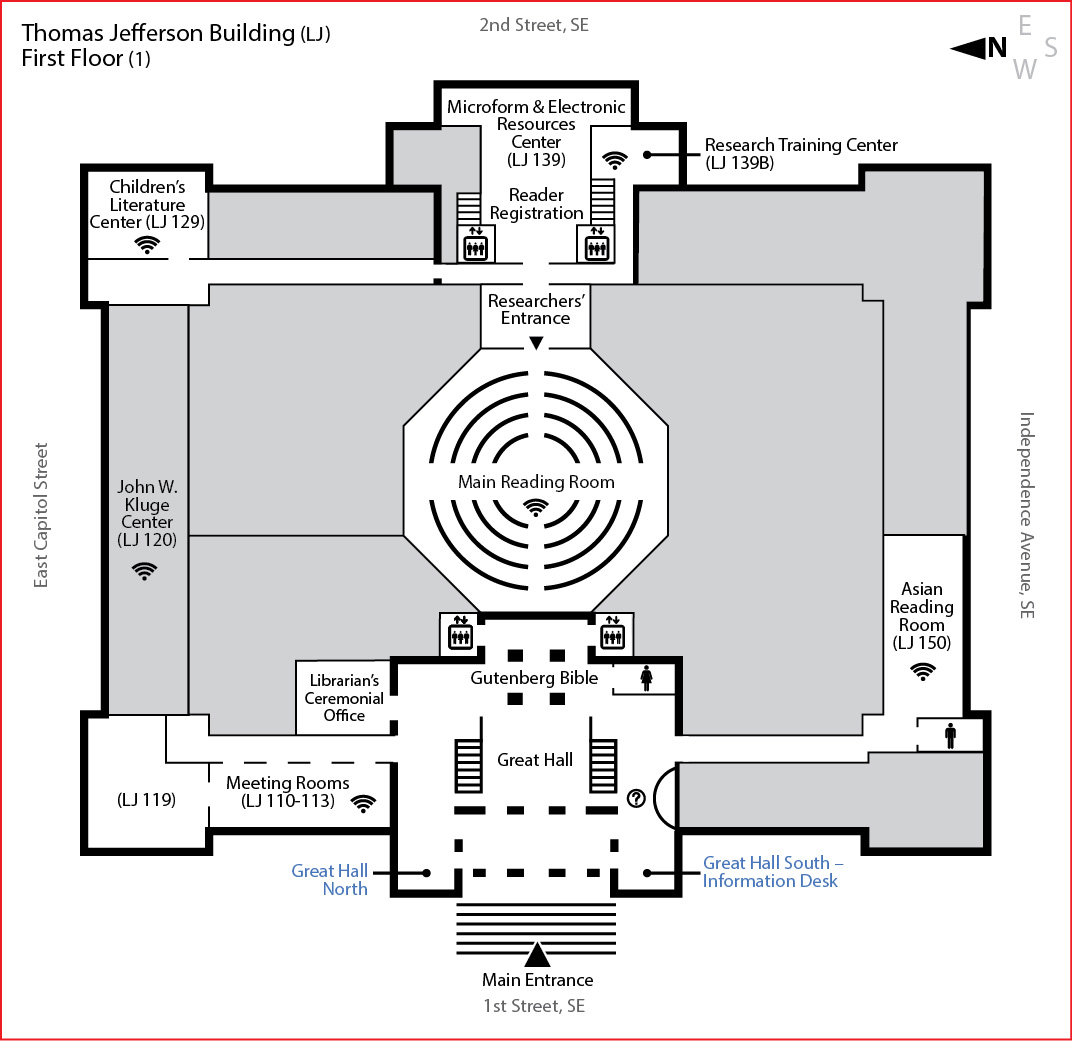 Jefferson building first floor library of congress for Building plans images