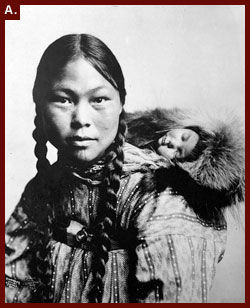 'Eskimo Mother with Child on Back,' ca. 1906